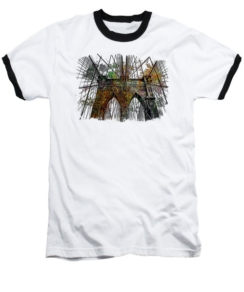 Brooklyn Bridge Muted Rainbow 3 Dimensional Baseball T-Shirt