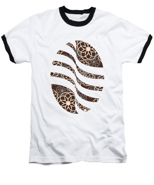 Brown And Silver Floral Pattern Baseball T-Shirt
