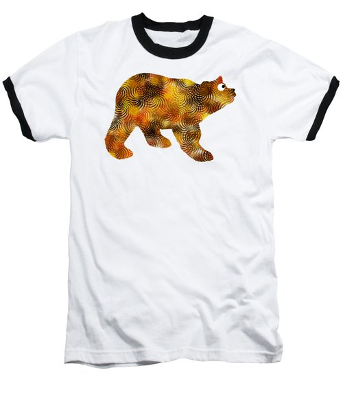 Brown Bear Silhouette Baseball T-Shirt by Christina Rollo