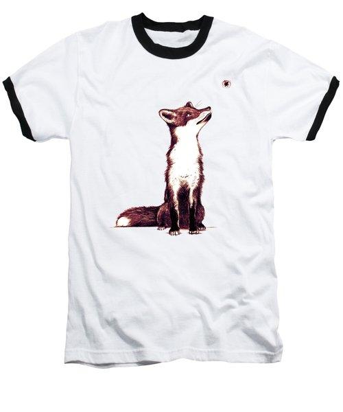 Brown Fox Looks At Thing Baseball T-Shirt by Nicholas Ely