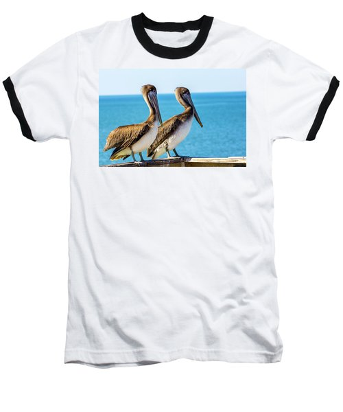 Brown Pelican Pair Baseball T-Shirt