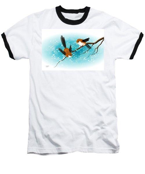 Brown Swallows In Winter Baseball T-Shirt by John Wills