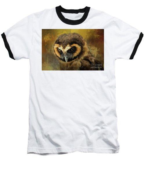 Brown Wood Owl Baseball T-Shirt