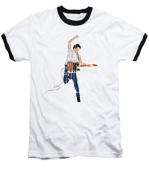 Baseball T-Shirt featuring the digital art Bruce Springsteen Typography Art by Inspirowl Design