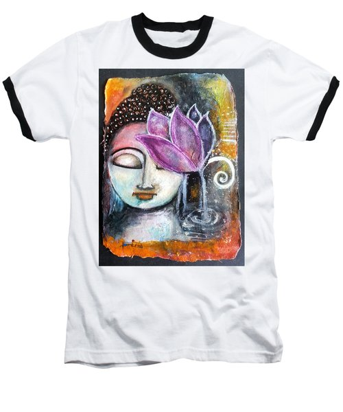 Baseball T-Shirt featuring the mixed media Buddha With Torn Edge Paper Look by Prerna Poojara