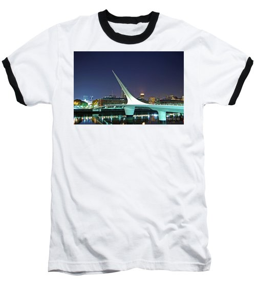 Buenos Aires - Argentina - Puente De La Mujer At Night Baseball T-Shirt