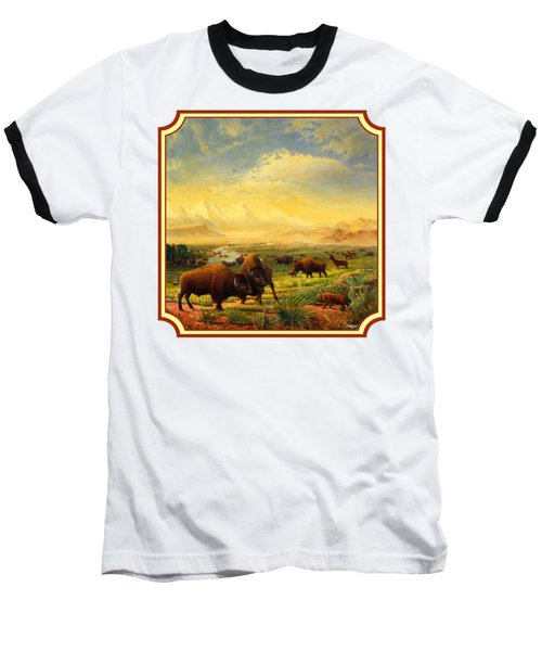 Buffalo Fox Great Plains Western Landscape Oil Painting - Bison - Americana - Square Format Baseball T-Shirt