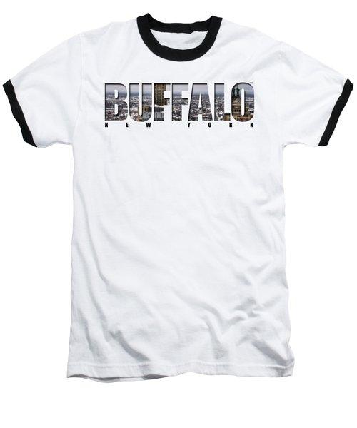 Buffalo Ny Snowy Cityscape Baseball T-Shirt by Michael Frank Jr