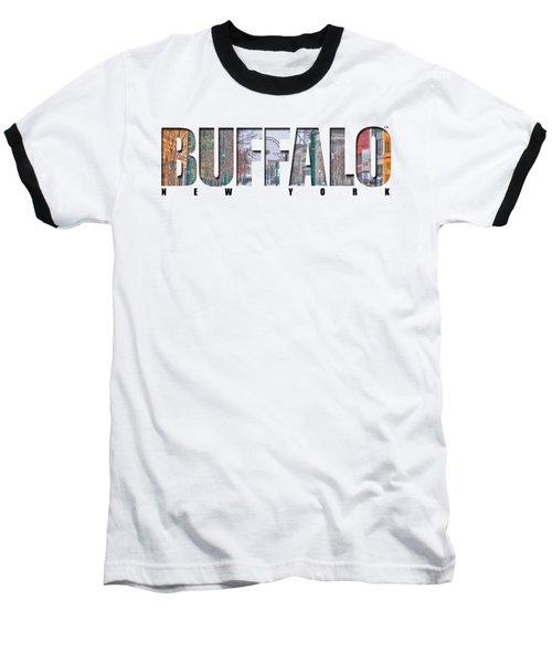 Buffalo Ny Snowy Downtown Baseball T-Shirt by Michael Frank Jr