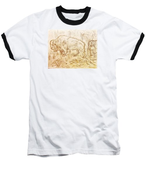 Baseball T-Shirt featuring the drawing Buffalo Trail  by Larry Campbell