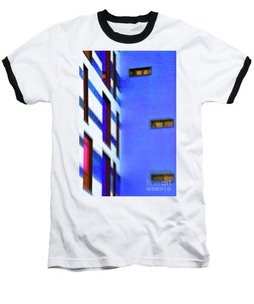 Baseball T-Shirt featuring the digital art Building Block - Blue by Wendy Wilton