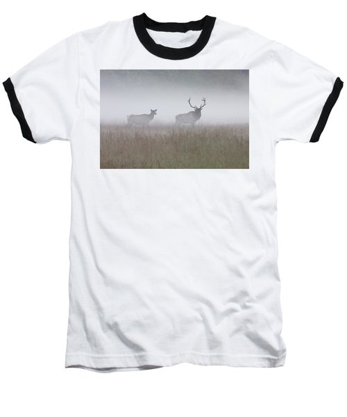 Bull And Cow Elk In Fog - September 30 2016 Baseball T-Shirt