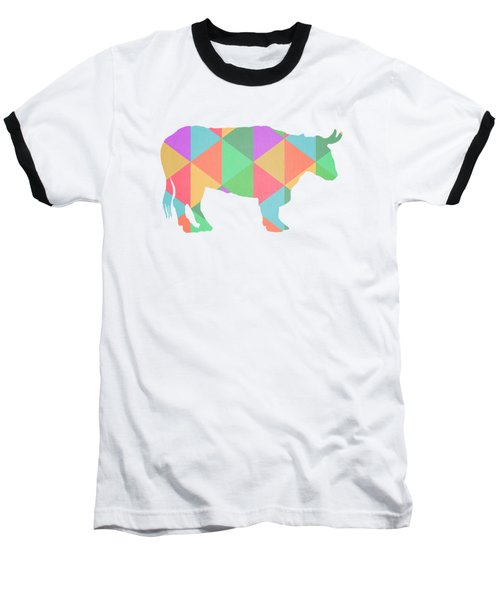 Bull Cow Triangles Baseball T-Shirt by Edward Fielding