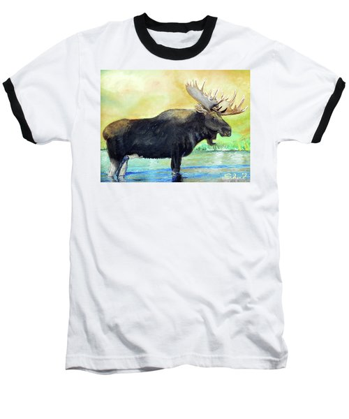 Bull Moose In Mid Stream Baseball T-Shirt