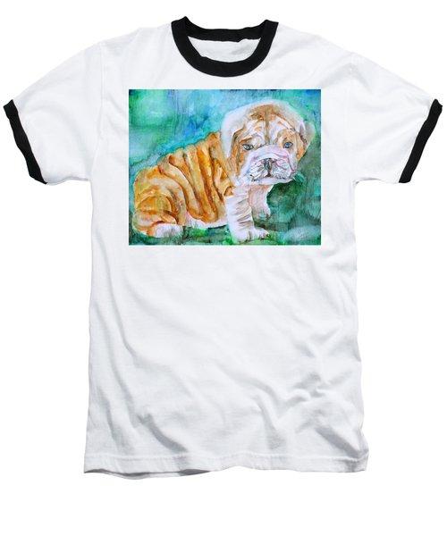 Baseball T-Shirt featuring the painting Bulldog Cub  - Watercolor Portrait by Fabrizio Cassetta