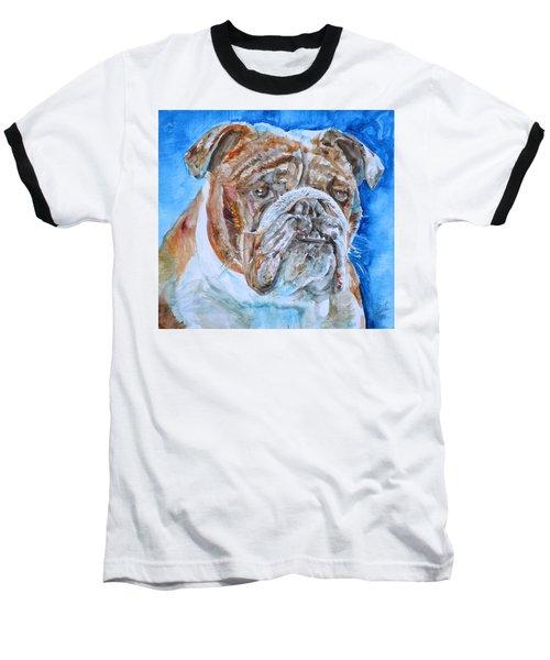 Baseball T-Shirt featuring the painting Bulldog - Watercolor Portrait.8 by Fabrizio Cassetta