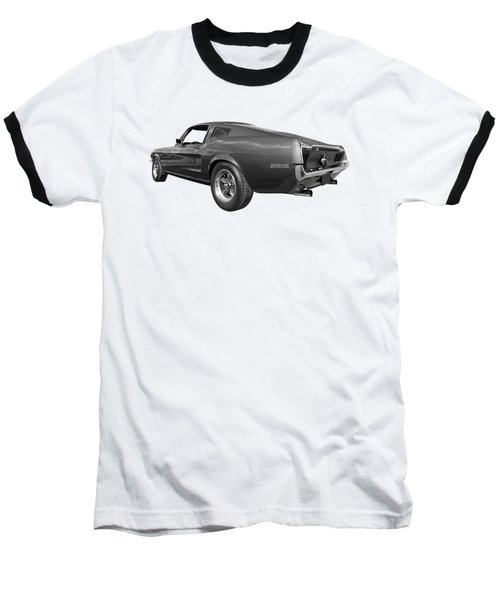 Baseball T-Shirt featuring the photograph Bullitt Mustang 1968 In Black And White by Gill Billington
