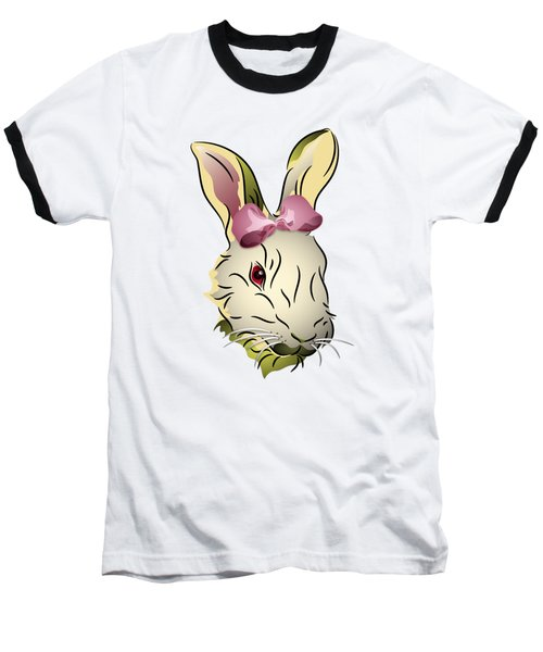 Bunny Rabbit With A Pink Bow Baseball T-Shirt by MM Anderson
