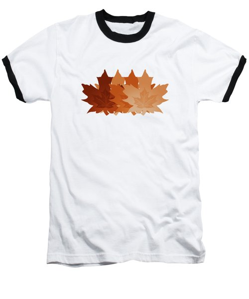Burnt Sienna Autumn Leaves Baseball T-Shirt by Methune Hively