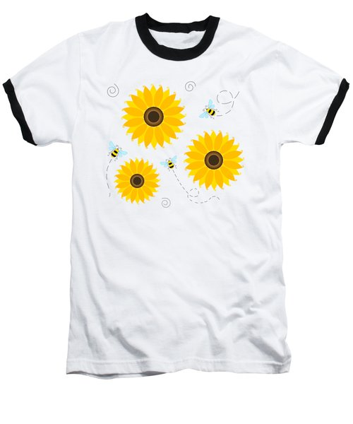 Busy Bees And Sunflowers - Large Baseball T-Shirt