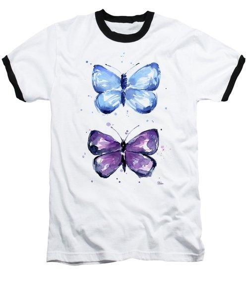 Butterflies Blue And Purple  Baseball T-Shirt