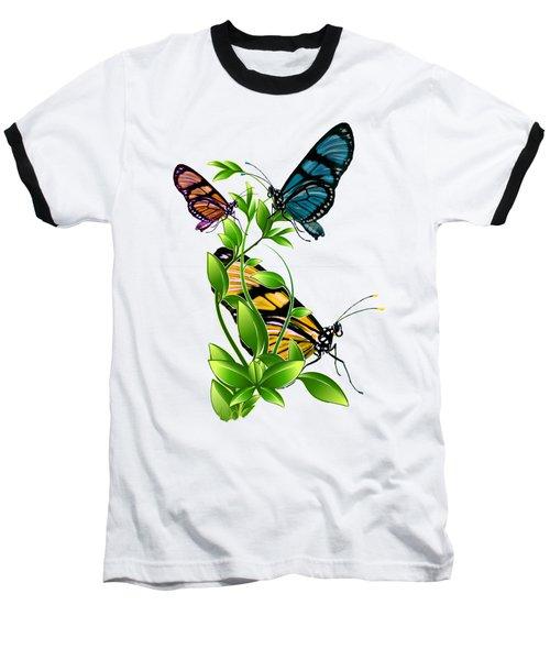 Butterflies On Leaves Baseball T-Shirt by Ericamaxine Price