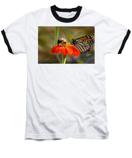 Butterfly And Bumble Bee Baseball T-Shirt