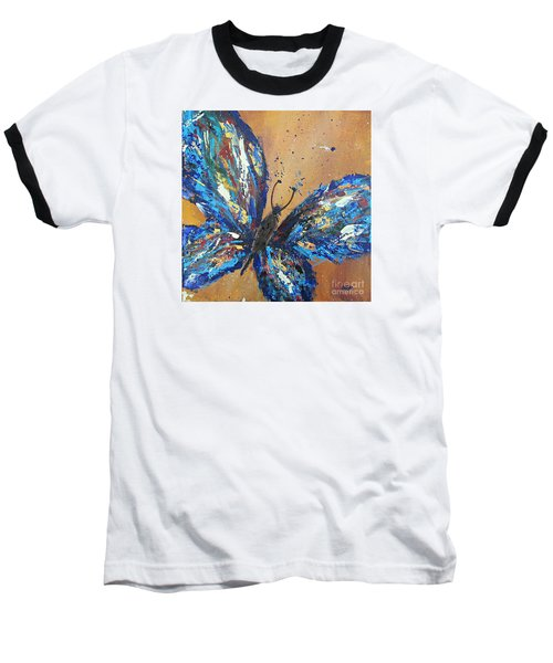Butterfly Blue Baseball T-Shirt