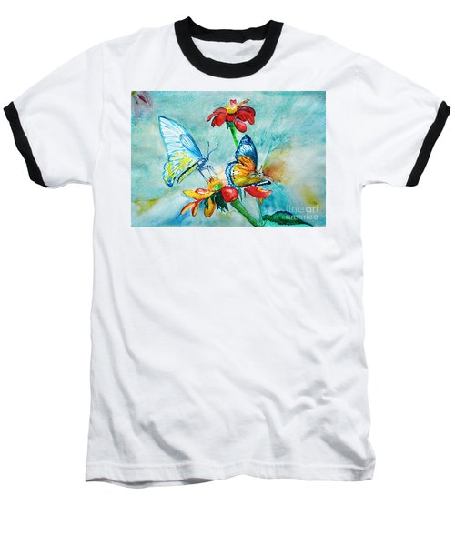 Baseball T-Shirt featuring the painting Butterfly Dance by Jasna Dragun