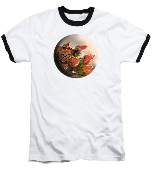 Baseball T-Shirt featuring the photograph Butterfly In A Globe by Phyllis Denton