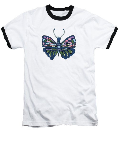 Butterfly In Blue Baseball T-Shirt by Kathleen Sartoris