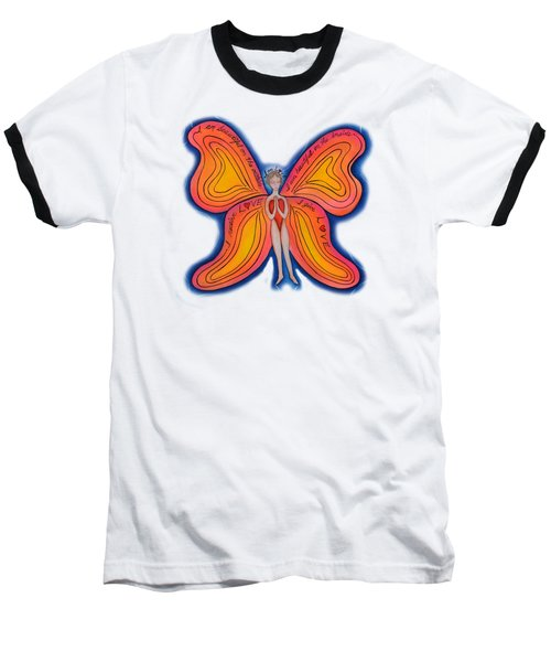 Baseball T-Shirt featuring the painting Butterfly Mantra by Deborha Kerr