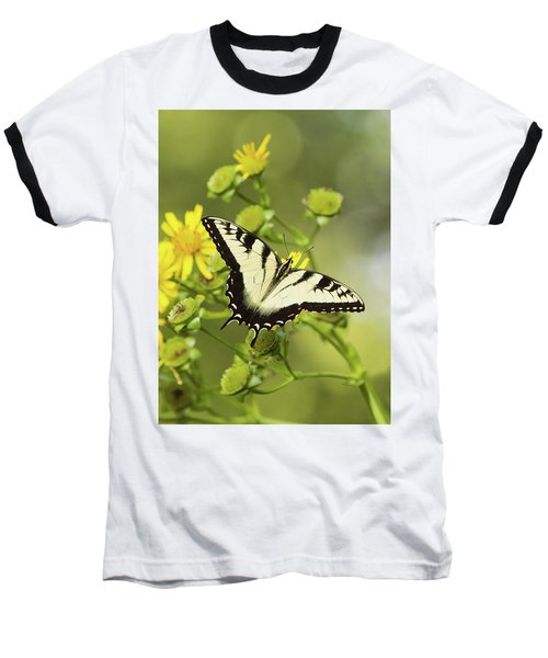 Butterfly On Yellow Baseball T-Shirt