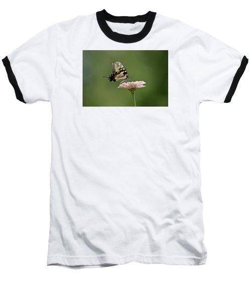 Baseball T-Shirt featuring the photograph Butterfly On Zinnia by Wanda Krack
