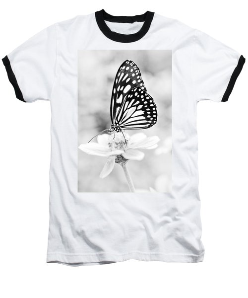 Butterfly Wings 7 - Black And White Baseball T-Shirt