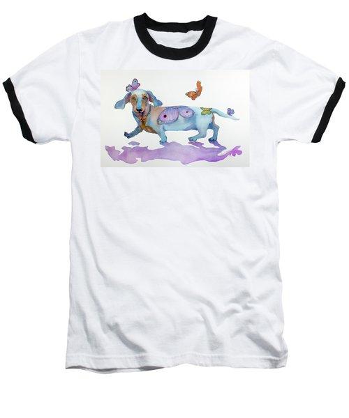 Butterfly Doxie Doo Baseball T-Shirt by Marcia Baldwin