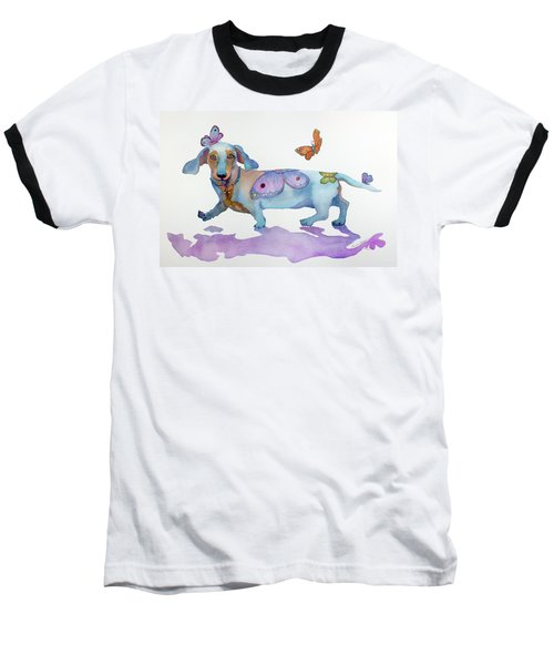 Butterfly Doxie Doo Baseball T-Shirt