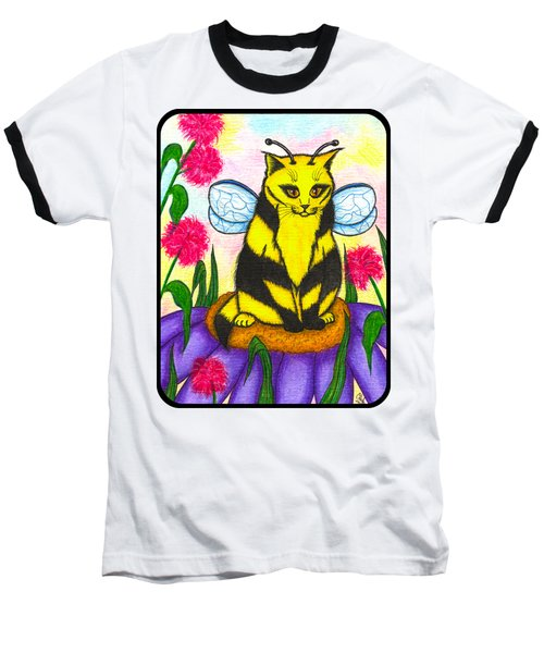 Buzz Bumble Bee Fairy Cat Baseball T-Shirt by Carrie Hawks