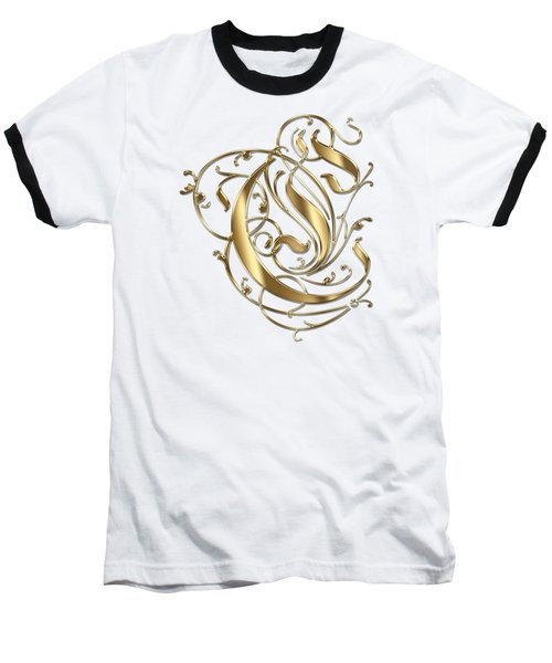 C Ornamental Letter Gold Typography Baseball T-Shirt