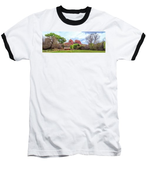 Baseball T-Shirt featuring the photograph Cabin At Cathedral Rock Panorama by James Eddy