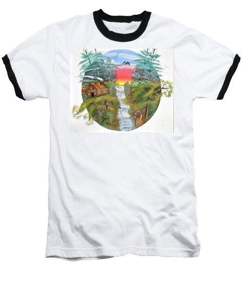 Cabin By The Falls Baseball T-Shirt