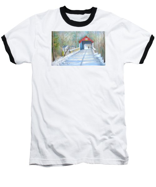 Cabin Run Bridge In Winter Baseball T-Shirt