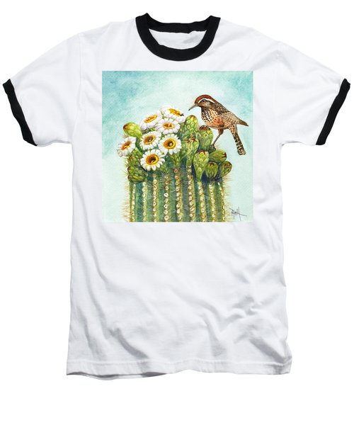 Baseball T-Shirt featuring the painting Cactus Wren And Saguaro by Marilyn Smith