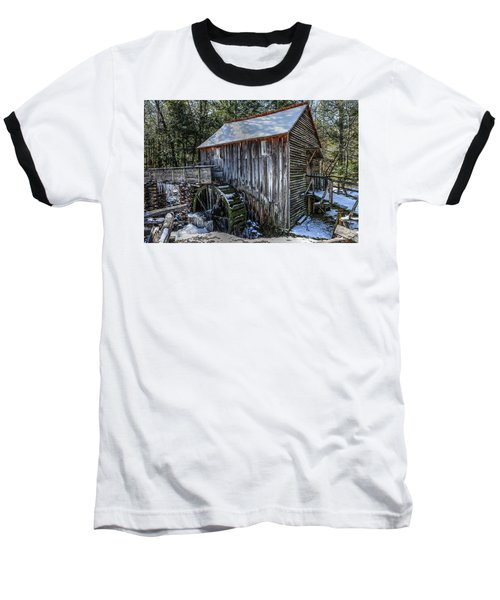 Cades Cove Grist Mill In Winter Baseball T-Shirt