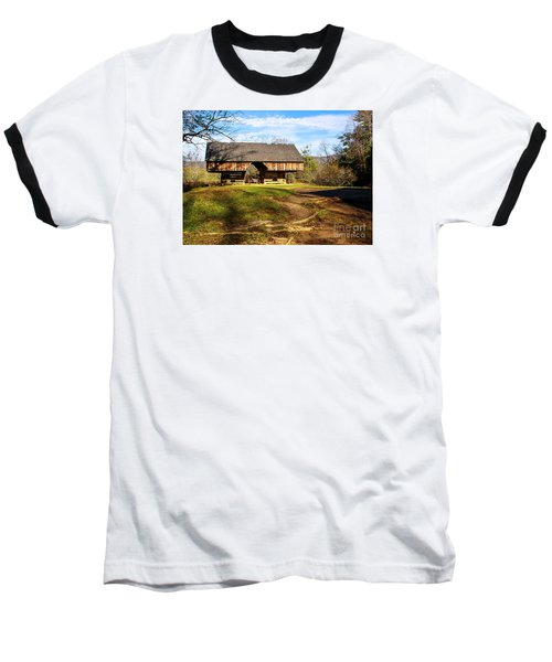 Cades Cover Cantilevered Barn Baseball T-Shirt by Marilyn Carlyle Greiner
