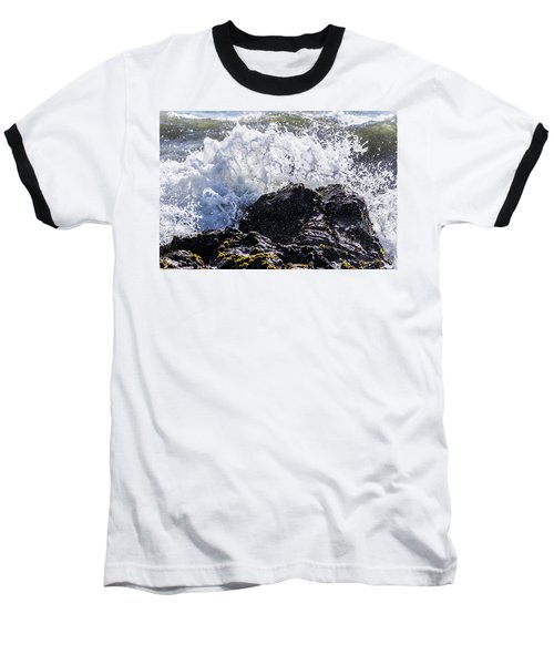 California Coast Wave Crash 4 Baseball T-Shirt