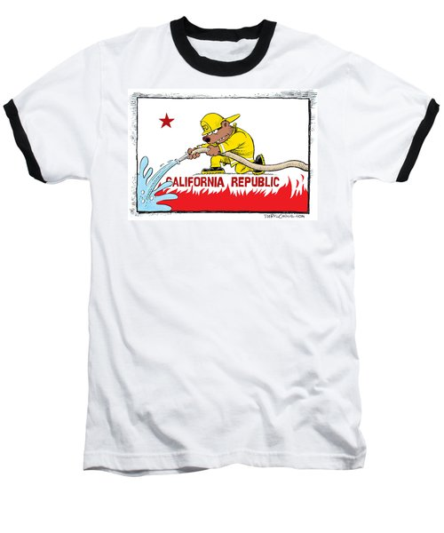 California Firefighter Flag Baseball T-Shirt