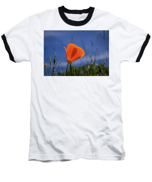 California Poppy Baseball T-Shirt by Marc Crumpler