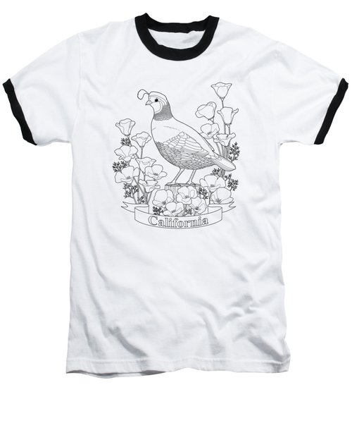 California State Bird And Flower Coloring Page Baseball T-Shirt