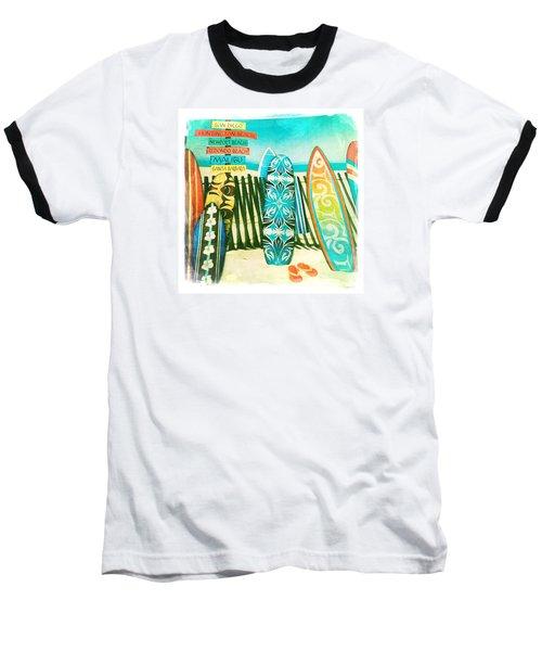 California Surfboards Baseball T-Shirt by Nina Prommer